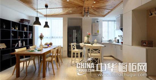 北欧风格餐厨设计 白色多功能岛型橱柜推荐